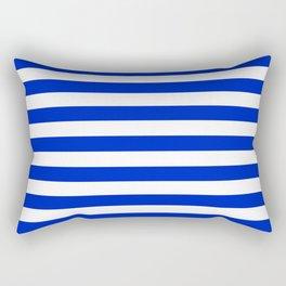 Cobalt Blue and White Horizontal Beach Hut Stripe Rectangular Pillow
