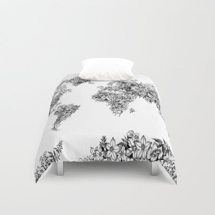 Floral world map black and white duvet cover by bekimart society6 gumiabroncs Image collections