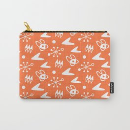 Mid Century Modern Atomic Boomerang Pattern Orange Carry-All Pouch