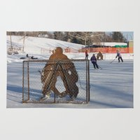 outdoor Area & Throw Rugs featuring Outdoor hockey rink by RMK Creative