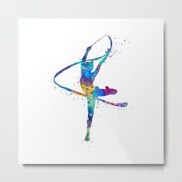 Rhythmic Gymnastics Girl Gymnast Ribbon Ballet Art Colorful Watercolor Art Flexible Girls Gift Metal Print