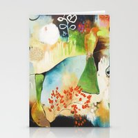"flora bowley Stationery Cards featuring ""Rainwash"" Original Painting by Flora Bowley by Flora Bowley"