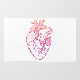 Designer Heart White Backgound Rug
