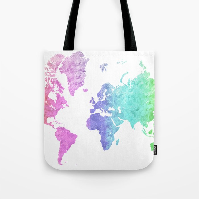 Rainbow World Map In Watercolor Style Jude Tote Bag By
