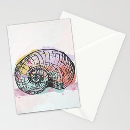AP098 Watercolor snail shell Stationery Cards