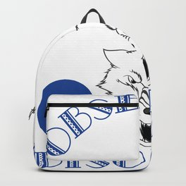 A cool white wolf gift for someone obsessed with awesome white wolves.  Obsessive Wolf Disorder Backpack