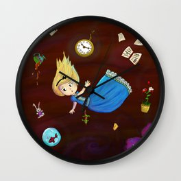 Alice in Wonderland falling through rabbit hole Wall Clock