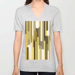 Flowing drops of paint in gold yellow, abstract liquid flow, golden background Unisex V-Neck