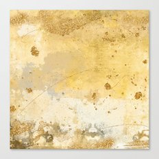 Gold and Yellow Brush Stroke Abstract Canvas Print