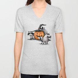 Raccoons and Jack-O-Lanterns Unisex V-Neck