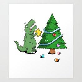 Funny Struggle Is Real Dinosaur Christmas Tree Star Shirt Art Print
