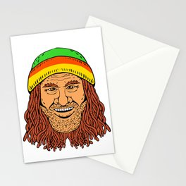 Rastafarian Head Front Drawing Color Stationery Cards