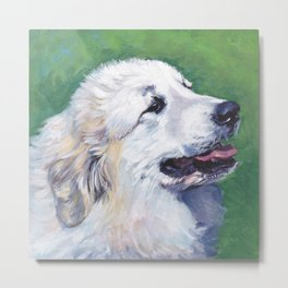 Great Pyrenees dog portrait art from an original painting by L.A.Shepard Metal Print