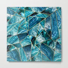 Turquoise Navy Blue Agate Black Gold Geometric Triangles Metal Print
