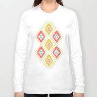 ikat Long Sleeve T-shirts featuring Zig Zag Ikat (white) by Jacqueline Maldonado