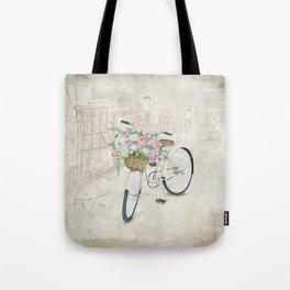 Vintage bicycles with roses basket Tote Bag