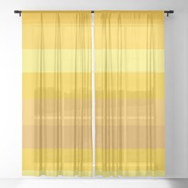 Afternoon Sun Rays - Golden Yellow Variable Stripe Pattern  Sheer Curtain