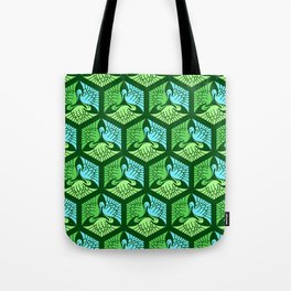 Japanese Cranes, Jade Green and Light Blue Tote Bag