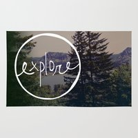 oregon Area & Throw Rugs featuring Explore Oregon by Leah Flores
