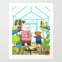 Tea at Capybara's Greenhouse Art Print