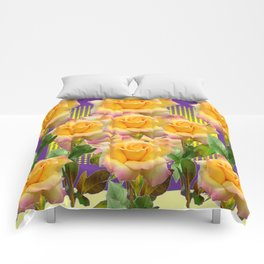 Purple Tinged Golden Yellow Garden Roses Green Art Comforters