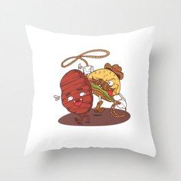 Illustration Cowboy Burger Patti Throw Pillow