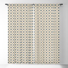 Blue & Beige Angled Polka Dot Grid Line Pattern Pairs To 2020 Color of the Year Chinese Porcelain Blackout Curtain
