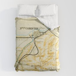 Vintage Map of Corinth Greece (1894) Comforters