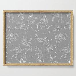 Origami Constellations - geometric animals constellations design - grey Serving Tray