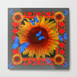 RED TWILIGHT GARDEN SUNFLOWERS BLUE BUTTERFLIES Metal Print