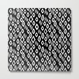 Linocut black and white minimalist mud cloth tribal pattern primitive mark making Metal Print