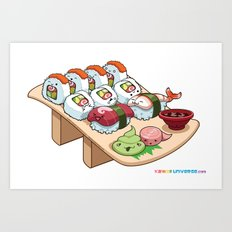 Kawaii California Roll and Sushi Shrimp and Tuna Nigiri Art Print