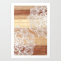 brown Art Prints featuring White doodles on blonde wood - neutral / nude colors by micklyn