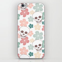 cute colorful pattern with skulls and flowers iPhone Skin