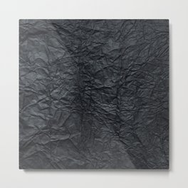 Abstract modern black gray creased paper texture Metal Print