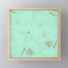 Elegant gold and mint marble image Framed Mini Art Print