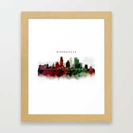 Minneapolis Watercolor Skyline Framed Art Print