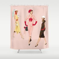 givenchy Shower Curtains featuring 1950's Girls by Tom Tierney Studios