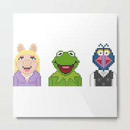 Kermit Miss Piggy And Gonzo The Muppets Pixel Metal Print