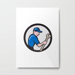 Handyman Holding Spanner Circle Cartoon  Metal Print