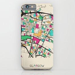 Colorful City Maps: Glasgow, Scotland iPhone Case
