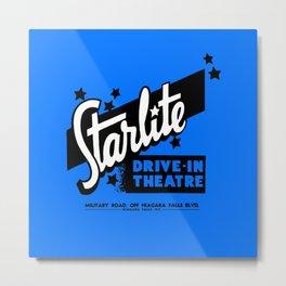 Starlite Drive-In Niagara Falls in Blue Metal Print