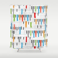 piano Shower Curtains featuring piano by mondebettina