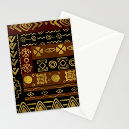Ethnic African Golden Pattern on black and brown Stationery Cards