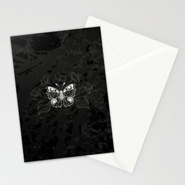 White Butterfly Peacock Stationery Cards