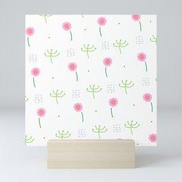 Ditsy Pink and Green Girly Floral Print Mini Art Print