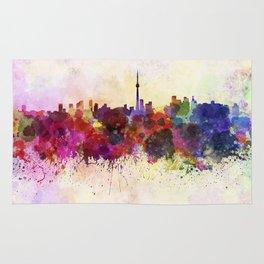 Toronto skyline in watercolor background Rug