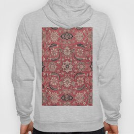 Vintage Blossom III // 16th Century Tibet Ornamental Moody Red Vines Colorful Ornate Rug Pattern Hoody