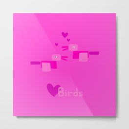 Love Birds-Pink Metal Print