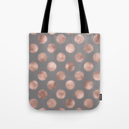 Rosegold pink metal  polkadots on grey backround  - dots Tote Bag